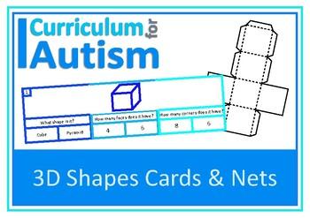 3D Shapes Clip Cards + Nets of Shapes, Autism, Special Edu