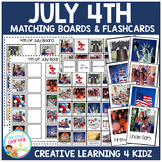 July 4th Matching Boards + Flashcards