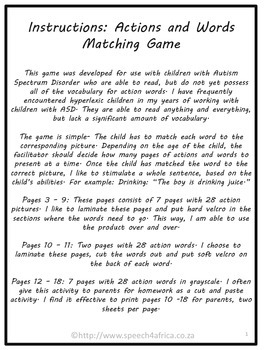 Autism Activities: Actions and Words Matching Game