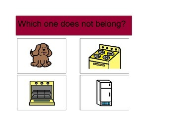 Activity For Students with Autism - WHICH DOES NOT BELONG?