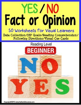 Autism: Autism YES/NO Fact or Opinion Worksheet Set with DATA