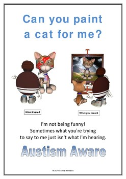Autism Aware Poster - Can You Paint a Cat For Me?