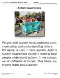 SES Weekly Reading- Autism Awareness