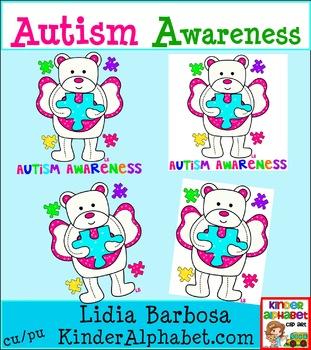 Autism Awareness Angel Bear {Clip Art for Teachers}