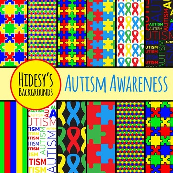 Autism Awareness Backgrounds / Digital Papers / Patters Commercial Use Clip Art