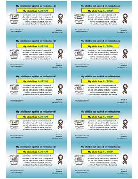 Autism Awareness Business Card for parents