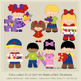 Autism Awareness Children Clip Art Graphics