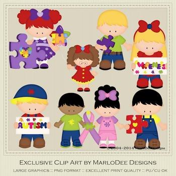 Autism Awareness Children Clip Art Graphics