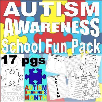 Autism Awareness Classroom Packet Printable Worksheets Writing Fun Vocabulary +