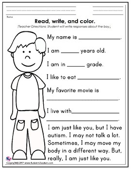 Autism Awareness Month FREE Worksheets To Promote ...
