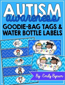 Autism Awareness FREEBIE (Water Bottle Labels/Goodie Bag Tags!)