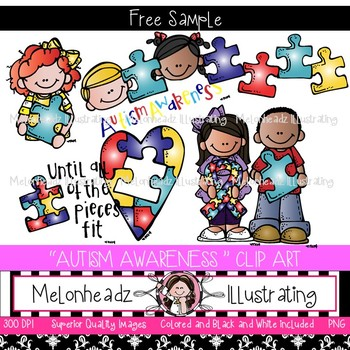 Melonheadz: Autism Awareness clip art - Freebie - Combo Pack
