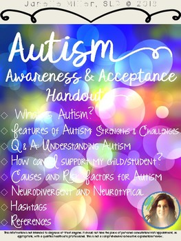 Autism Awareness Teacher Handouts/Parent Packet