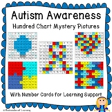 Autism Awareness Hundred Chart Mystery Pictures with Number Cards for Support
