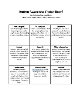 Autism Awareness Month Choice Board