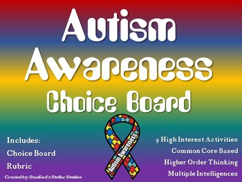 Autism Awareness Month Choice Board Activities Menu Project Rubric Tic Tac Toe