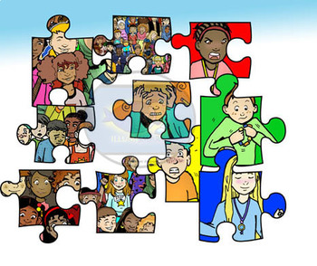 """Autism Awareness """"People and Puzzles"""" Clip-Art (30 Pieces)"""