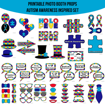 image relating to Printable Props called Autism Expertise Printable Image Booth Prop Fixed