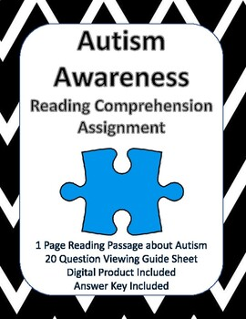 Autism Awareness Reading Comprehension - NEW!