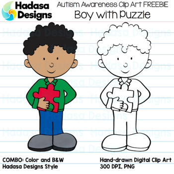 Hadasa Designs: Autism Awareness Clip Art FREEBIE - Boy with Puzzle