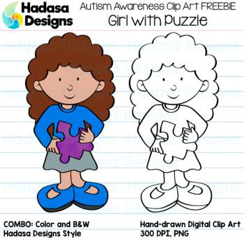 Hadasa Designs: Autism Awareness Clip Art FREEBIE - Girl with Puzzle