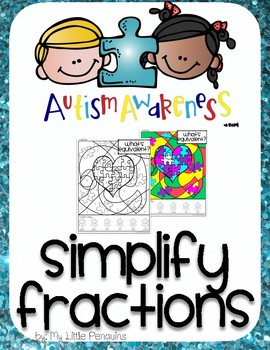 Autism Awareness Simplify Fractions Coloring page (no prep)