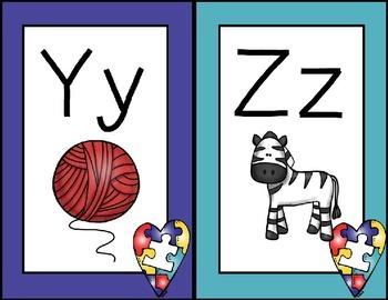 Autism Awareness Themed Alphabet Line