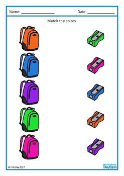 Autism Basic Concepts Back to School Color Match FREEBIE, Special Education
