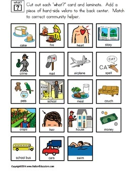 AUTISM READING Build A Sentence with Pictures Interactive COMMUNITY HELPERS