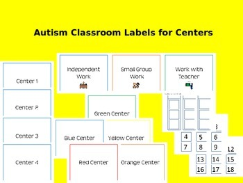 Autism Classroom Labels for Centers (Editable)