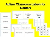 Autism Classroom Labels for Centers (PDF Version)