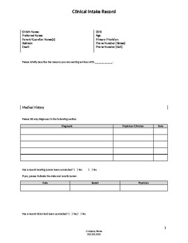 Autism Clinic Intake Form