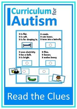 Autism Reading Comprehension Solve & Match, Special Education, Speech, ESL