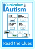 Reading Comprehension Match Autism Special Education ESL