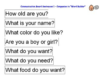 Autism Communication Board Sentences, Questions & Answers