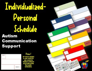 Autism Communication Support Individualized Personal Visual Schedule -Special Ed