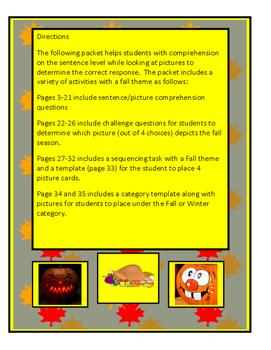 Autism: Comprehension Fall Theme