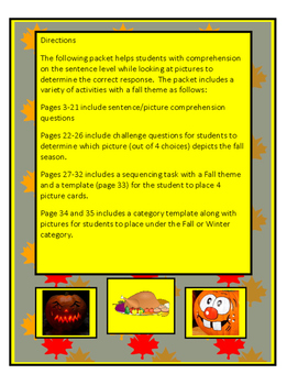 Autism: Comprehension Fall Theme