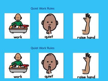 Autism Consequence & Behavior Map & Quiet Work Rules using Boardmaker