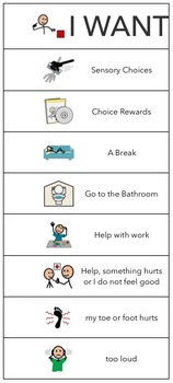 Autism-Daily Schedule-Sensory choices-Choice Rewards-I need-Lunch Routine