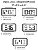 Autism Digital Telling Time Practice Multiple Clocks on a page
