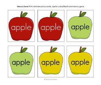 Autism Dolch Noun Sight Word: APPLE