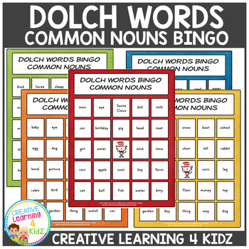 Dolch Words Bingo Common Nouns