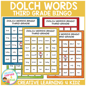 Dolch Words Bingo Third Grade