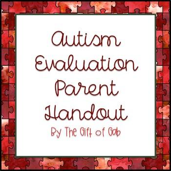 Autism Evaluation Parent Handout