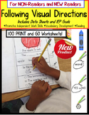 Autism FOLLOWING VISUAL DIRECTIONS Print and Go Worksheets NEW and NON-READERS
