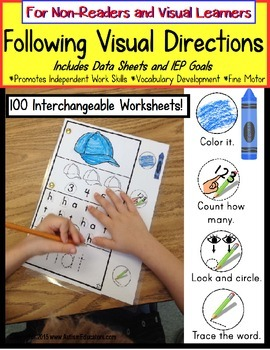 Autism FOLLOWING VISUAL DIRECTIONS Worksheets for NON-READERS Data/IEP Goals