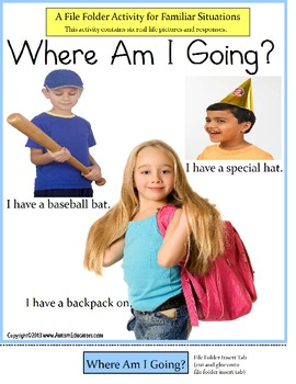 Autism File Folder Activity of Familiar Situations {Where Am I Going?} Spec Ed