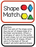 Autism File Folder Game: Shape Match