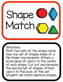 Autism File Folder Game: Shape Match